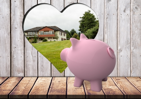 Digital composite of 3D pink piggy bank looking from the hole with heart shape on the wood where we can see a house
