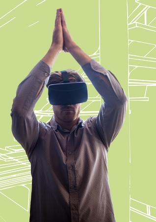 causal: Digital composite of Man in virtual reality headset against green and white hand drawn stairs