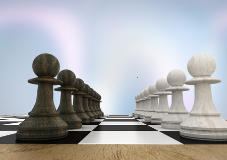 Digital composite of 3D Chess pieces against purple abstract background