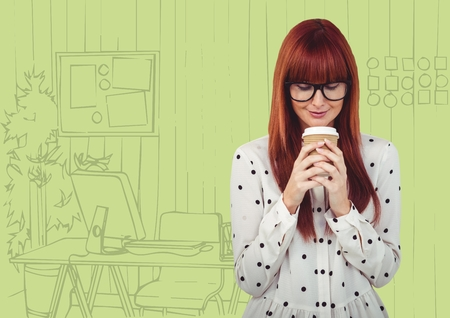 fringe: Digital composite of Millennial woman drinking coffee against green hand drawn office