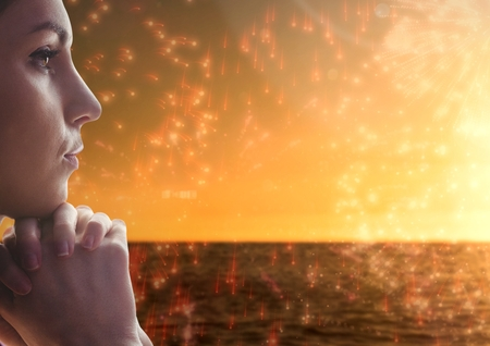 jehovah: Digital composite of Woman contemplating with firework ocean