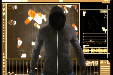 Digital composite of Masked hacker standing in front of an interface