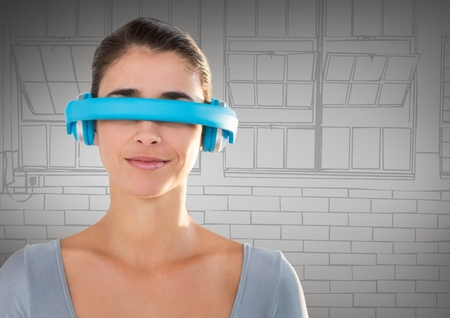 side viewing: Digital composite of Woman in blue virtual reality headset against grey hand drawn windows