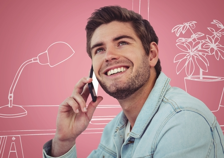 mobilephone: Digital composite of Millennial man on phones against pink and white 3D hand drawn office Stock Photo