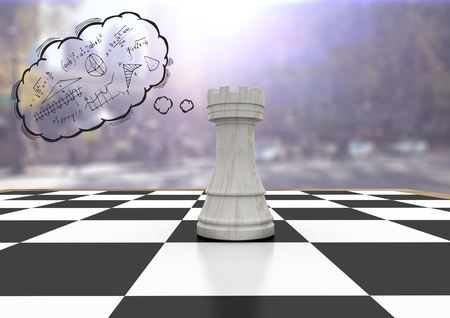 Digital composite of 3D Chess piece against blurry street with flares and thought cloud with math doodles