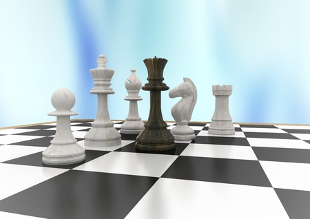 tactics: Digital composite of 3D Chess pieces against blue abstract background Stock Photo