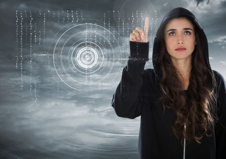 stealer: Digital composite of Woman hacker touching a digital screen with his finger