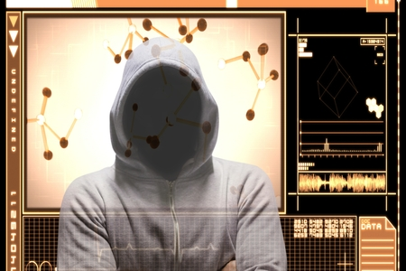 Digital composite of Hacker standing with arm crossed on orange interface