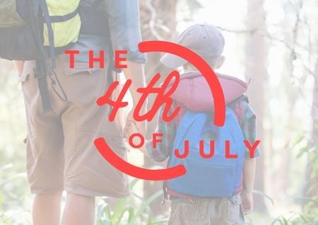 Digital composite of Red fourth of July graphic against father and son in forest
