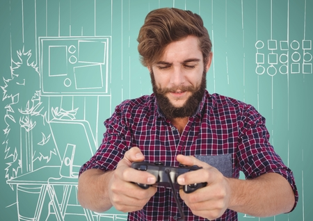 pressing: Digital composite of Millennial man playing video games against aqua and white hand drawn office Stock Photo