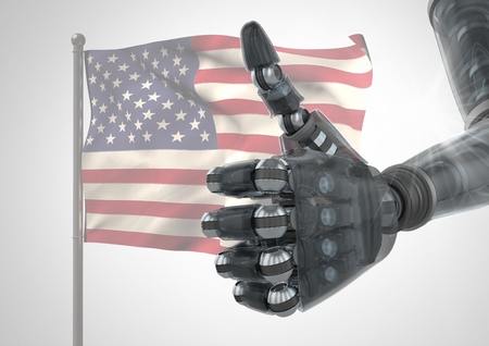composite image: Digital composite of Robot with thumb up  against american flag Stock Photo