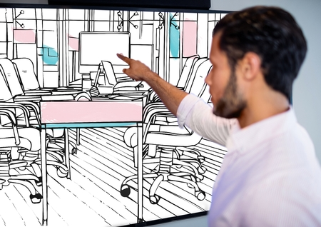 Drawing Lines In Office : Digital composite of business young happy woman drawing d office