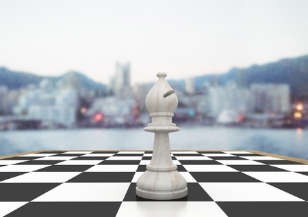 tactics: Digital composite of 3D Chess piece against blurry skyline