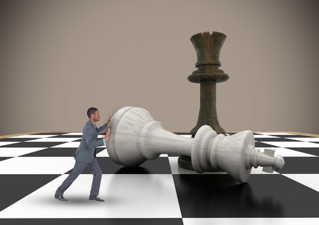 tactics: Digital composite of Business man pushing 3D chess piece against brown background