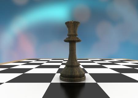 Digital composite of 3D Chess piece against blue bokeh Stock Photo