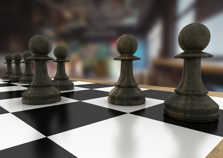 tactics: Digital composite of 3D Chess pieces against blurry cafe