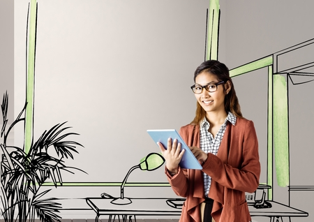 Digital composite of young businesswoman smiling with tablet in front of the blueprint of the new office