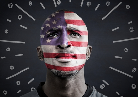 Digital composite of Portraiture of man with american flag face paint against navy chalkboard and white fireworks doodle Imagens