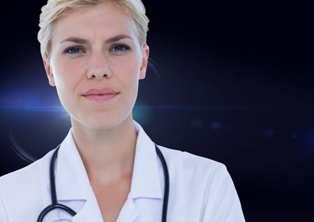 Digital composite of Female doctor against blue flare