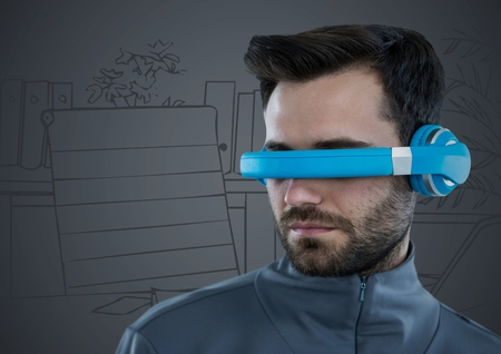 sketch out: Digital composite of Man in blue virtual reality headset against grey hand drawn office