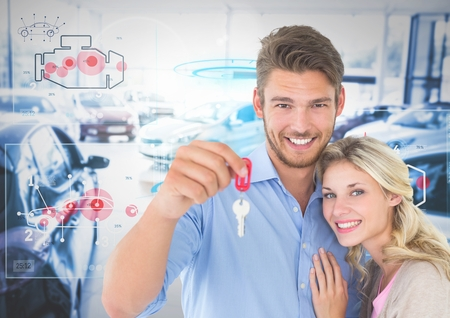 Digital composite of Couple Holding Keys with cars Stock Photo