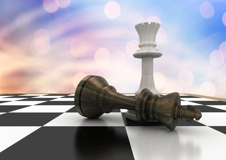 Digital composite of 3D Chess pieces against blue orange bokeh