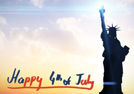 Digital composite of Fourth of July graphic at bottom of evening sky next to statue of liberty Stock Photo