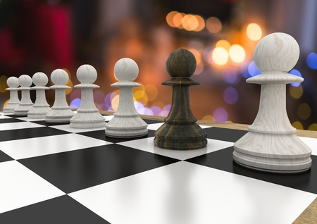 Digital composite of 3D Chess pieces against night bokeh