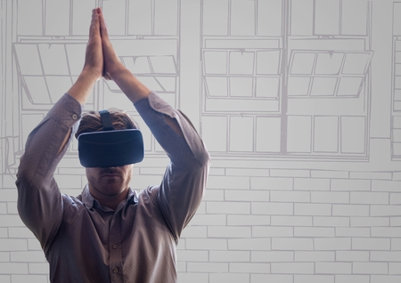 causal: Digital composite of Man in virtual reality headset against purple and grey hand drawn office