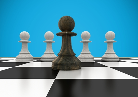 Digital composite of 3D Chess pieces against blue background Stock Photo