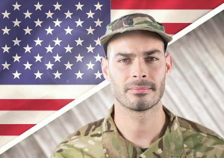 Digital composite of Smiling soldier for independence day