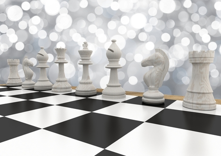 tactics: Digital composite of 3D Chess pieces against white bokeh