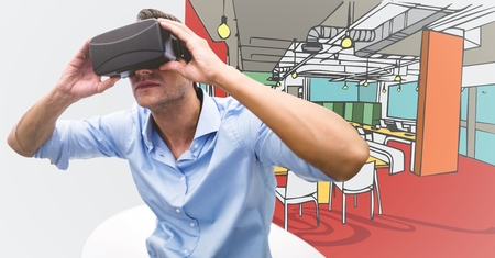 Digital composite of Business man in virtual reality headset sitting in white chair against 3D hand drawn office and white Stock Photo