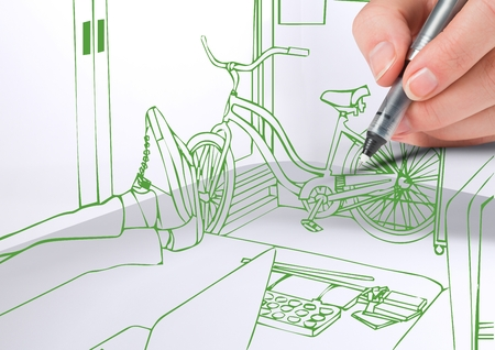 3d mode: Digital composite of 3D hand drawing office green lines