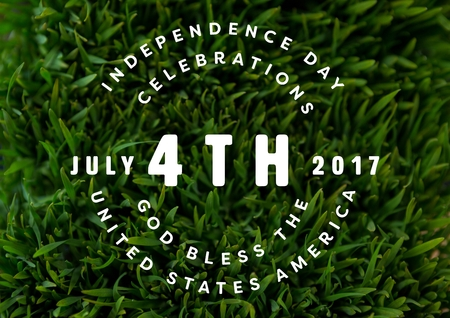 Digital composite of White fourth of July graphic against grass