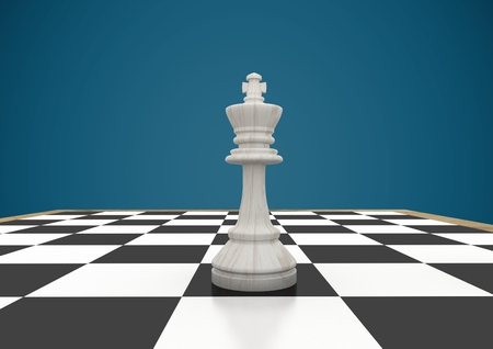 Digital composite of 3D Chess piece against blue background