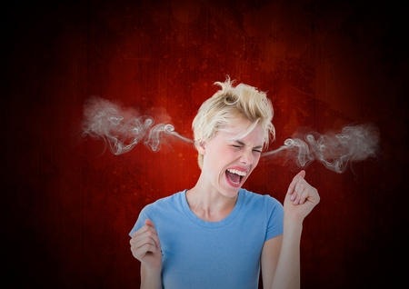 Digital composite of anger young woman with steam on ears. Black and red background