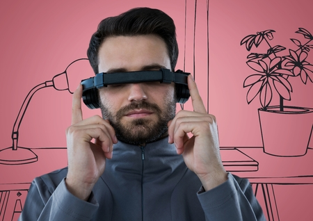 plant stand: Digital composite of Man in virtual reality headset against pink and grey hand drawn office
