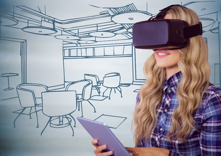 Digital composite of Woman in virtual reality headset with tablet against 3D blue hand drawn office Stock Photo