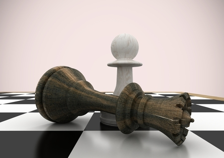 tactics: Digital composite of 3D Chess pieces against pink background