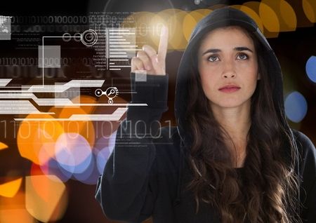 stealer: Digital composite of Woman hacker touching a screen with his finger Stock Photo
