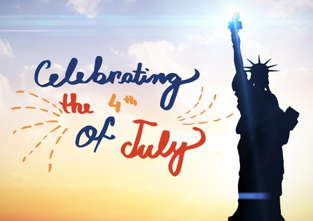 Digital composite of Fourth of July graphic against evening sky with statue of liberty