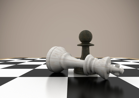 tactics: Digital composite of 3d Chess pieces against brown background Stock Photo