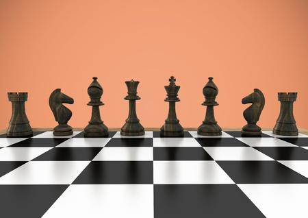 Digital composite of 3D Chess pieces against orange background Stock Photo