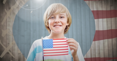 Digital composite of Boy holding american flag against hand drawn american flag with flare
