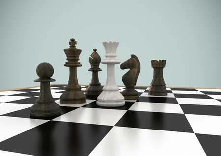 tactics: Digital composite of 3D Chess pieces against grey background Stock Photo