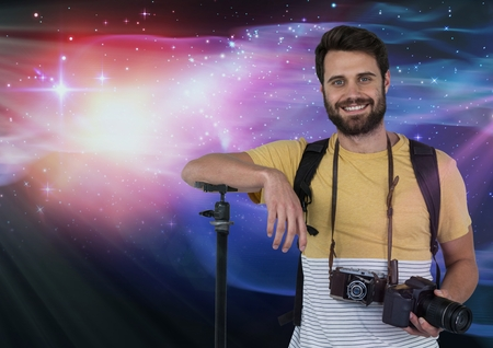 photographing: Digital composite of Photographer in front of lights Stock Photo