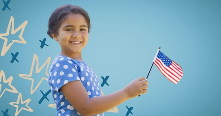 Digital composite of Girl smiling and holding american flag against blue background with hand drawn star pattern Stock Photo