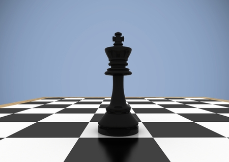 Digital composite of 3D Chess pieces against purple background