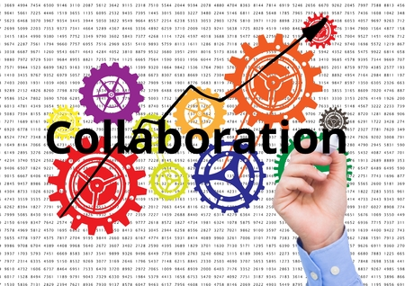 ticker: Digital composite of Collaboration write on the screen with color cogs. Numbers background
